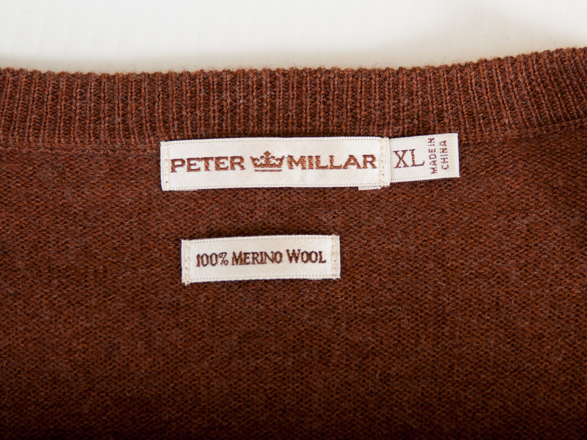 Peter Millar Brown Merino Wool V-Neck Sweater
