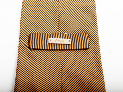 Brioni Light Brown Striped Silk Tie for Luxmrkt.com Menswear Consignment Edmonton