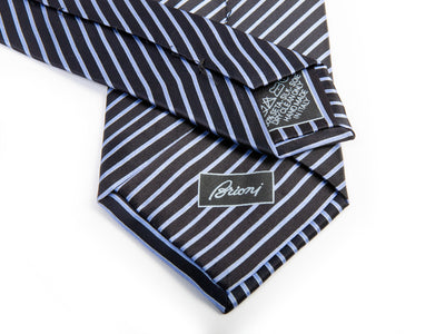 Brioni Lavender on Black Striped Silk Tie for Luxmrkt.com Menswear Consignment Edmonton