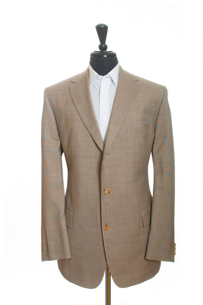 Hugo Boss Brown Striped Silk Blend Rossellini Blazer for Luxmrkt.com Menswear Consignment Edmonton