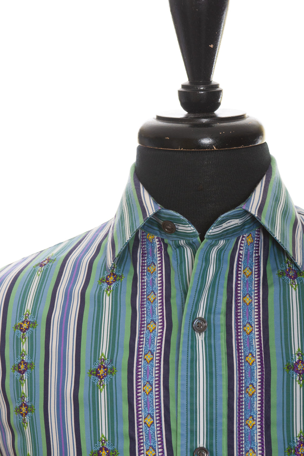 Robert Graham Green Embroidered Stripe Shirt for Luxmrkt.com Menswear Consignment Edmonton