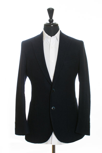LBM 1911 Navy Blue Basketweave Wool Blazer