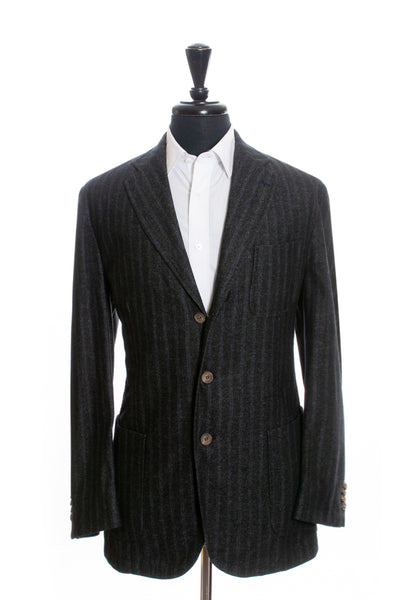 LBM 1911 Charcoal Grey Striped Slim Fit Blazer for Luxmrkt.com Menswear Consignment Edmonton
