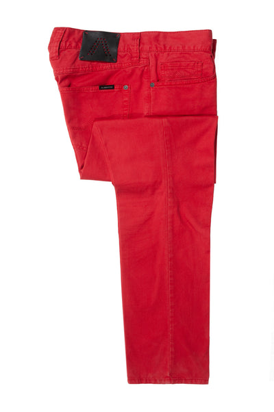 Alberto Red Pima Cotton Pipe Chinos