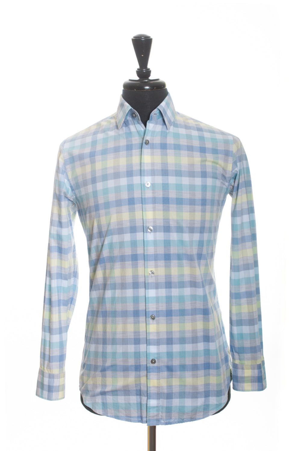Hugo Boss Light Blue Check Summer Cotton Shirt for Luxmrkt.com Menswear Consignment Edmonton