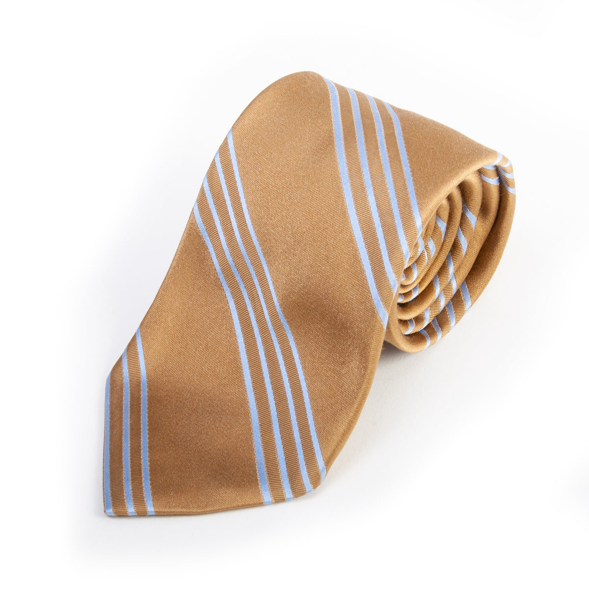 Faconnable Blue on Brown Striped Silk Tie for Luxmrkt.com Menswear Consignment Edmonton