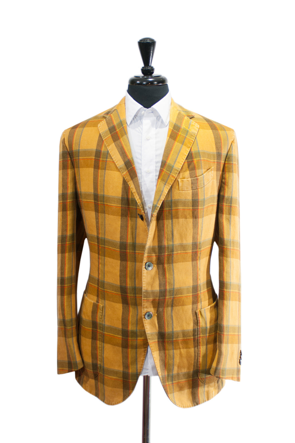 Boglioli Coat Bold Yellow Check Linen Blazer for Luxmrkt.com Menswear Consignment Edmonton