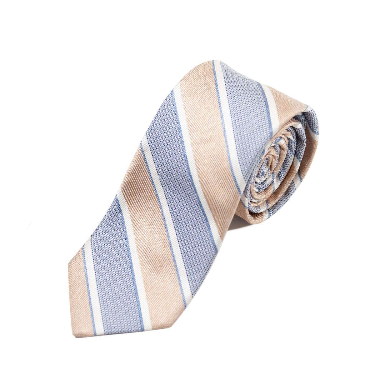 Faconnable Brown Striped Silk Tie for Luxmrkt.com Menswear Consignment Edmonton
