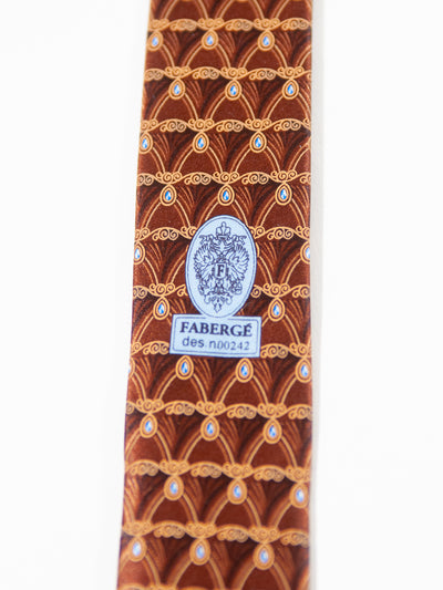 Faberge Brown Geometric Print Fine Silk Tie for Luxmrkt.com Menswear Consignment Edmonton