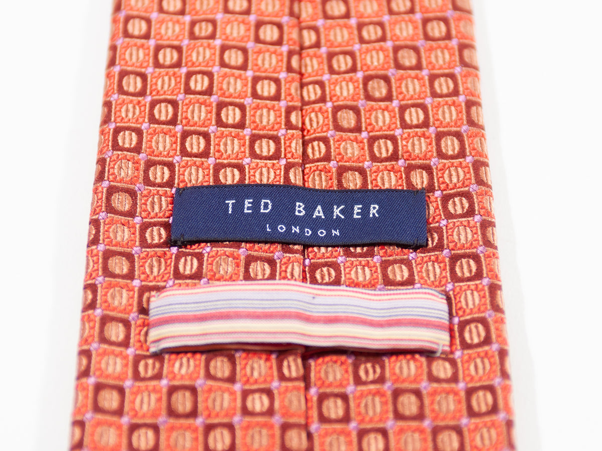 Ted Baker Copper and Bronze Geometric Patterned Tie for Luxmrkt.com Menswear Consignment Edmonton