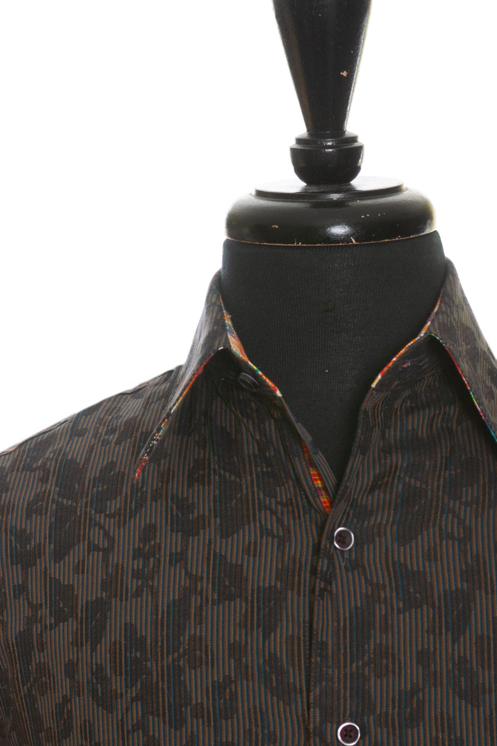Robert Graham Brown Floral Striped Shirt for Luxmrkt.com Menswear Consignment Edmonton
