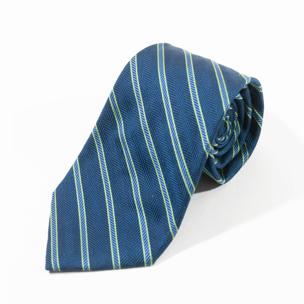 Brooks Brothers Green on Blue Repp Stripe Silk Tie for Luxmrkt.com Menswear Consignment Edmonton