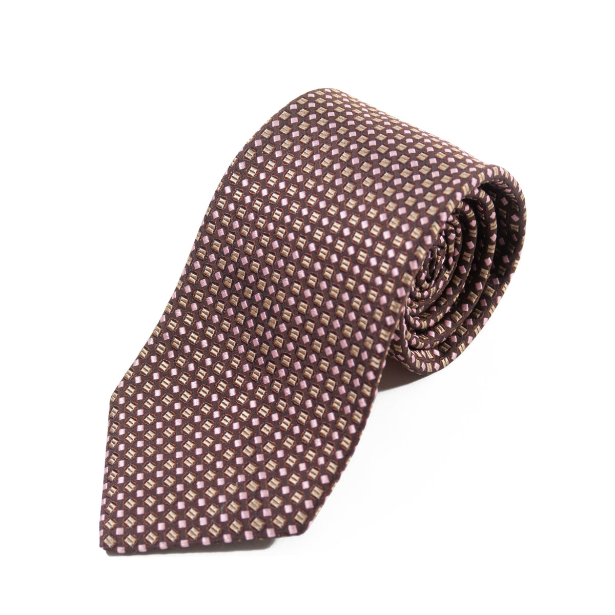 Hugo Boss Brown Geometric Patterned Tie for Luxmrkt.com Menswear Consignment Edmonton