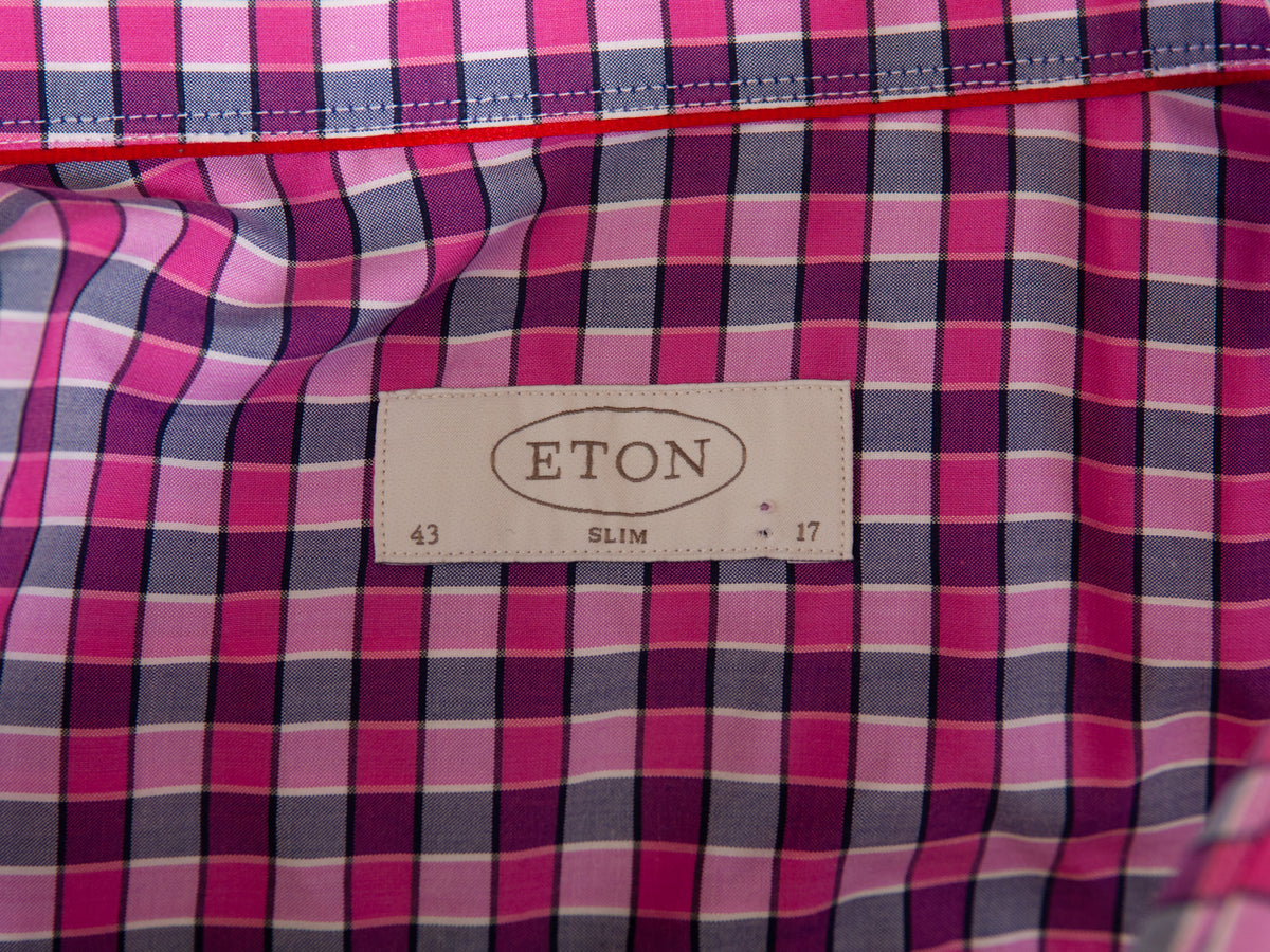 Eton Pink Check Slim Fit Shirt for Luxmrkt.com Menswear Consignment Edmonton
