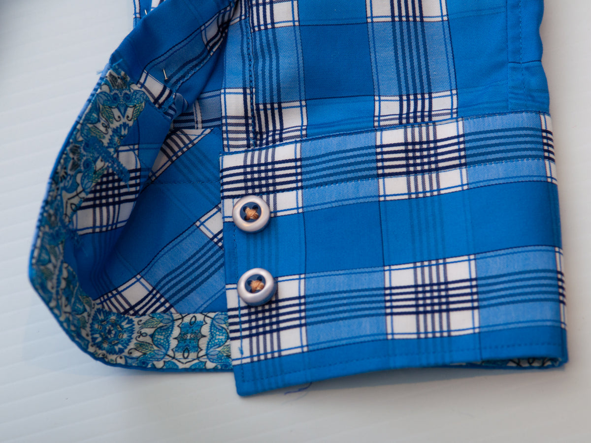 Robert Graham Exclusive Blue Check Classic Fit Shirt for Luxmrkt.com Menswear Consignment Edmonton