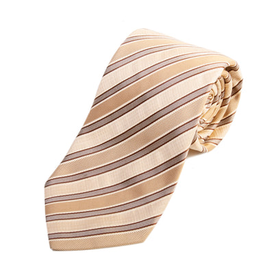 Hugo Boss Sand Brown Striped Silk Tie for Luxmrkt.com Menswear Consignment Edmonton