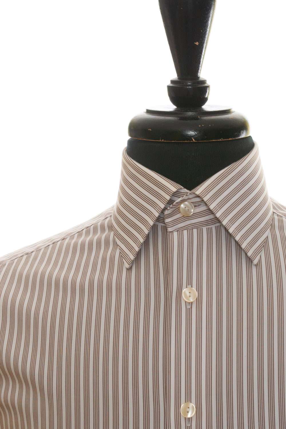 Eton Brown Stripe Cotton Shirt for Luxmrkt.com Menswear Consignment Edmonton
