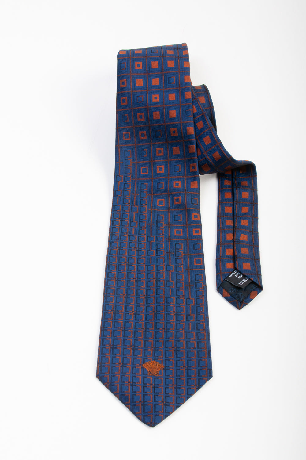 Versace Brown on Navy Blue Geometric Patterned Silk Tie for Luxmrkt.com Menswear Consignment Edmonton