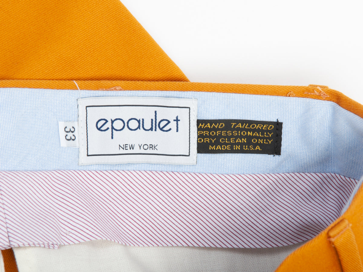 Epaulet New York Sunset Yellow Cotton Pants for Luxmrkt.com Menswear Consignment Edmonton