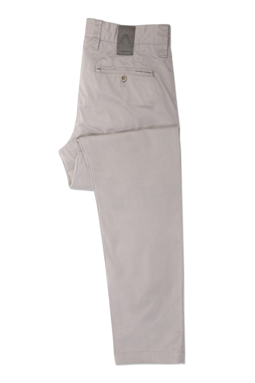 Alberto Light Grey Lou Regular Slim Fit Compact Cotton Pants for Luxmrkt.com Menswear Consignment Edmonton
