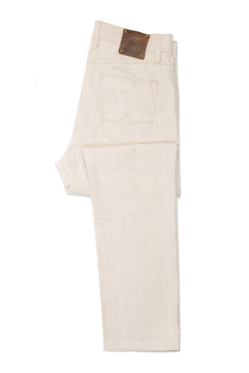 Alberto Beige Stone Modern Fit Linen Stretch Pants for Luxmrkt.com Menswear Consignment Edmonton