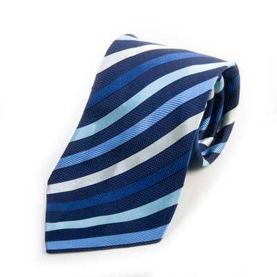 Giorgio Armani Blue Striped Silk Tie for Luxmrkt.com Menswear Consignment Edmonton