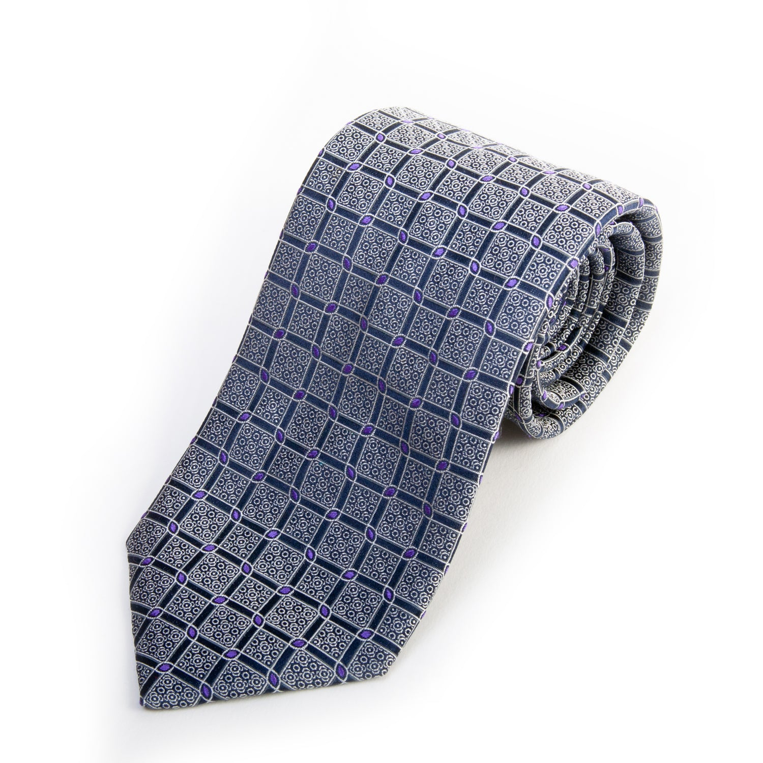 Canali Lilac on Navy Blue Geometric Patterned Silk Tie for Luxmrkt.com Menswear Consignment Edmonton