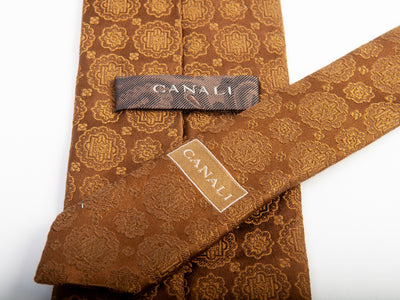 Canali Brown Tonal Geometric Tie for Luxmrkt.com Menswear Consignment Edmonton