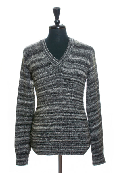 Blk Dnm Grey Mix V-Neck Sweater for Luxmrkt.com Menswear Consignment Edmonton