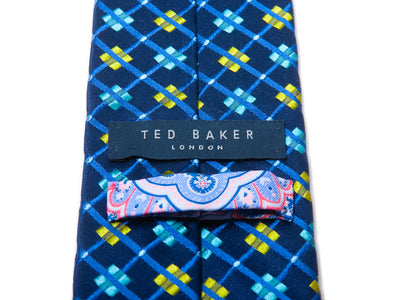 Ted Baker Blue Check Pattern Silk Tie for Luxmrkt.com Menswear Consignment Edmonton