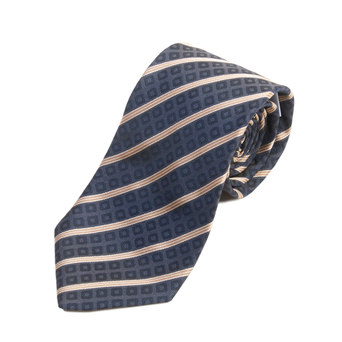 Armani Collezioni Brown Pattern Stripe Silk Tie for Luxmrkt.com Menswear Consignment Edmonton