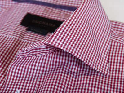 Duchamp Red Check Tailored Fit Shirt for Luxmrkt.com Menswear Consignment Edmonton