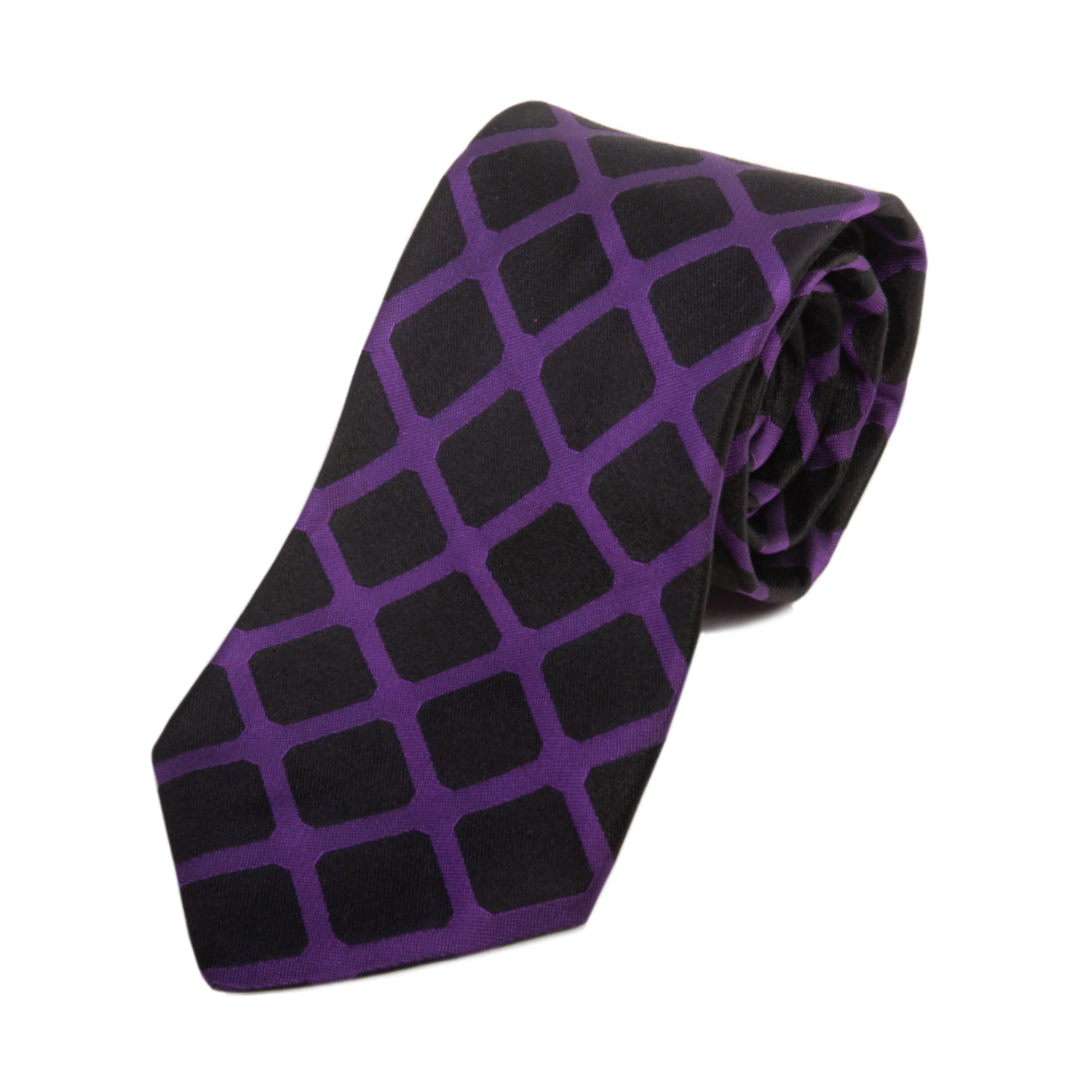 Ted Baker Purple on Black Check Silk Tie for Luxmrkt.com Menswear Consignment Edmonton
