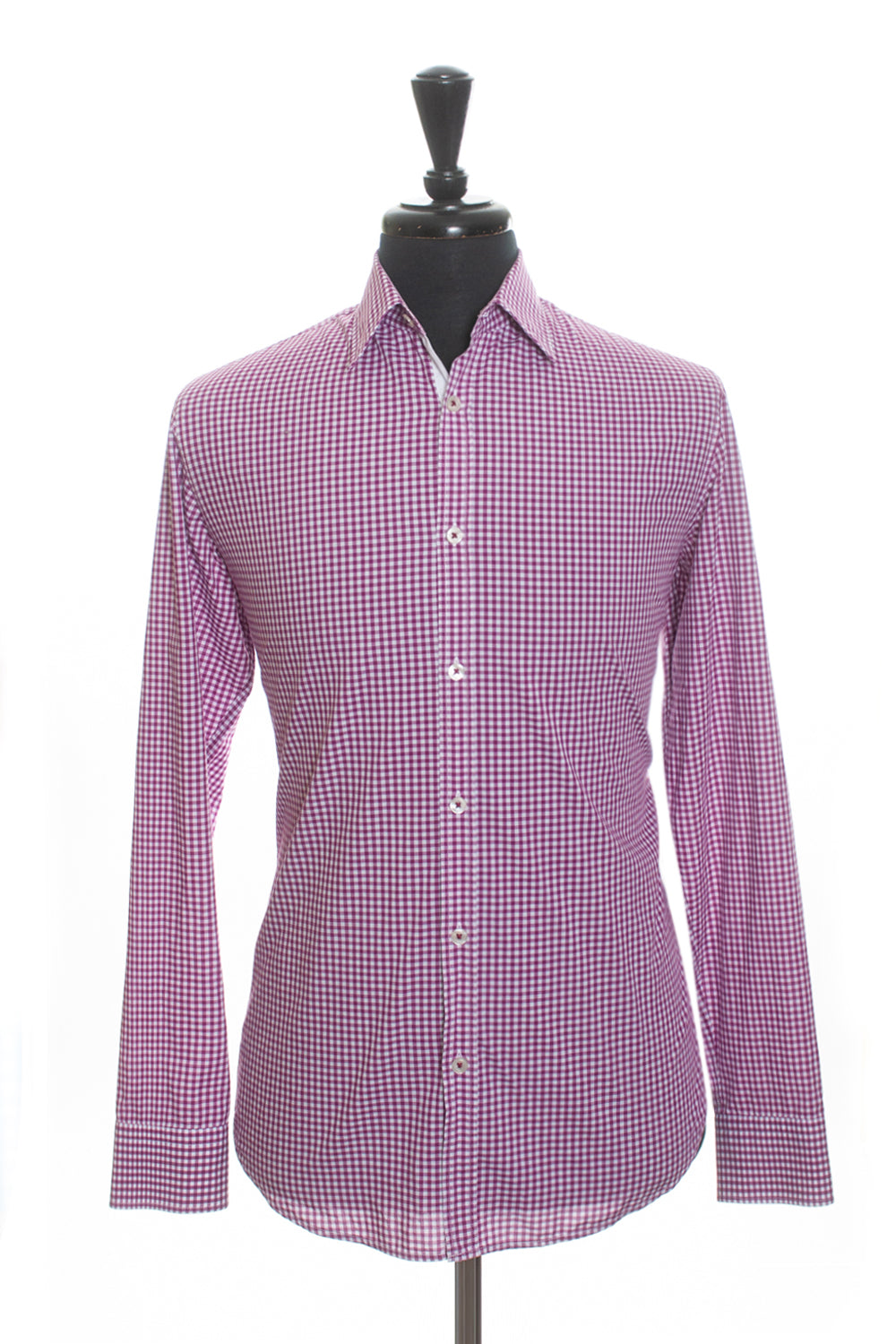 Hugo Boss Fuschia Gingham Check Regular Fit Obert Shirt for Luxmrkt.com Menswear Consignment Edmonton