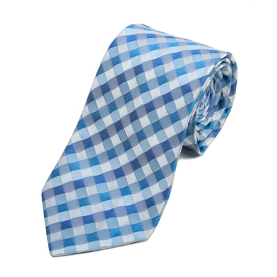 Hugo Boss Blue Check Silk Seersucker Tie for Luxmrkt.com Menswear Consignment Edmonton