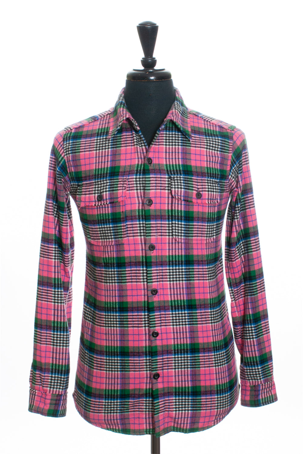 Izzue Japan Pink Plaid Distressed Seam Flannel Shirt for Luxmrkt.com Menswear Consignment Edmonton