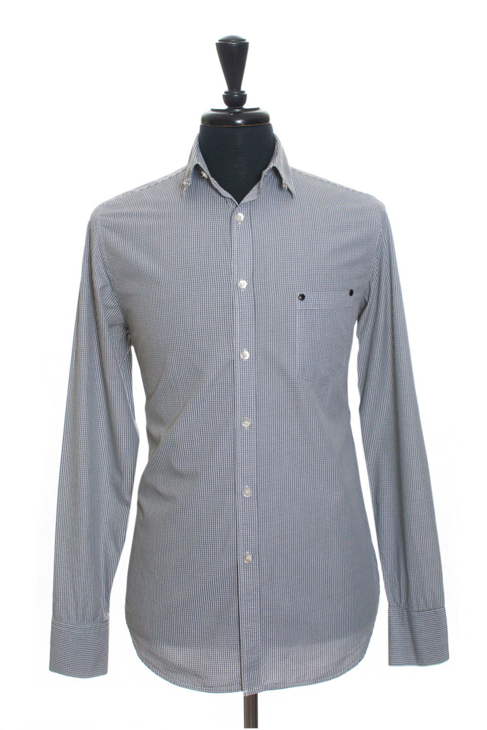 Fifth Avenue Shoe Repair Grey Check Casual Shirt for Luxmrkt.com Menswear Consignment Edmonton
