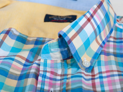 Paul & Shark Easter Blue Plaid Short Sleeve Shirt for Luxmrkt.com Menswear Consignment Edmonton