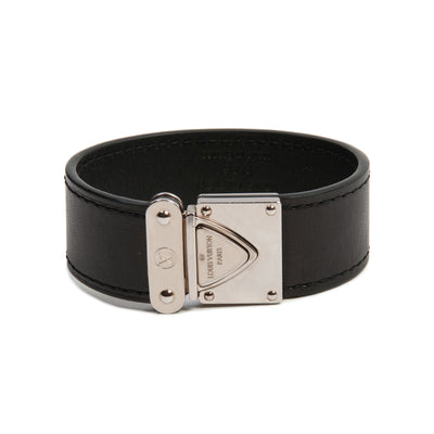 Louis Vuitton NIB Black Leather Lock Bracelet for Luxmrkt.com Menswear Consignment Edmonton