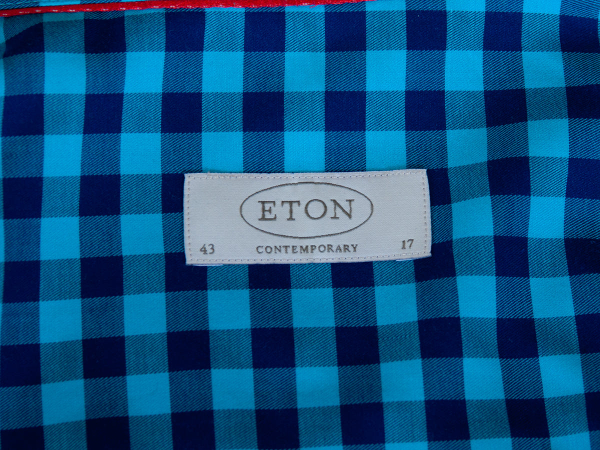 Eton Blue Check Contemporary Fit Shirt for Luxmrkt.com Menswear Consignment Edmonton