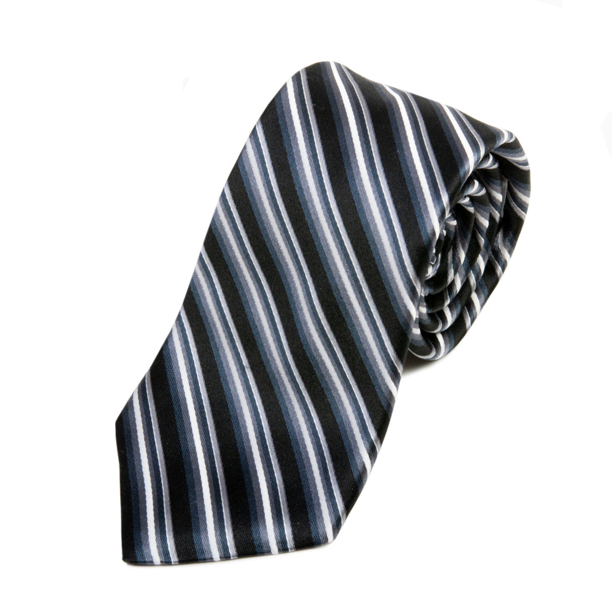 Sam Abouhassan Dark Grey Stripe Italian Silk Tie for Luxmrkt.com Menswear Consignment Edmonton