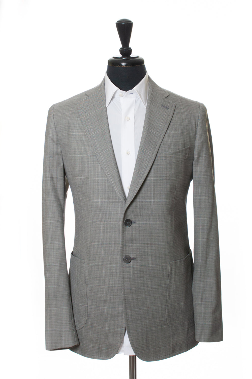 Isaia Grey Check Wool Cortina Suit for Luxmrkt.com Menswear Consignment Edmonton