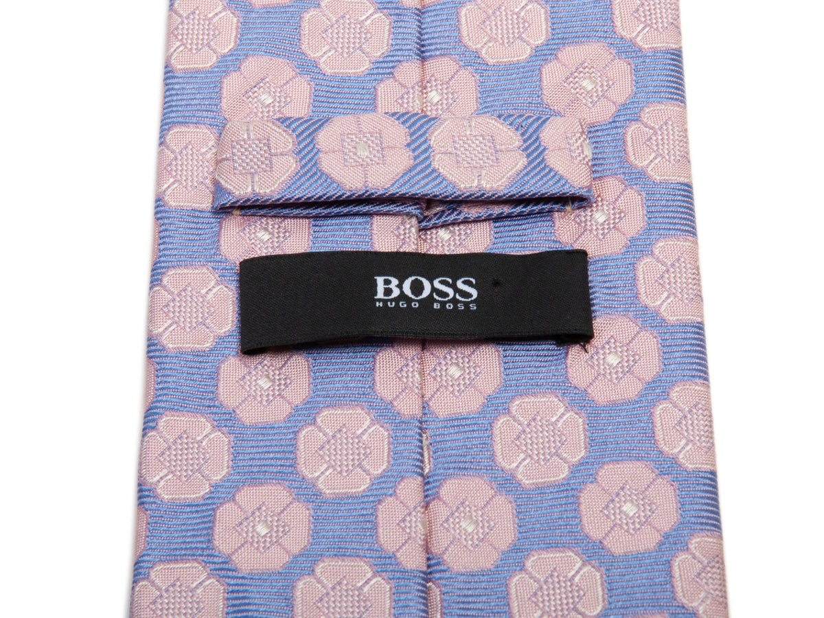 Hugo Boss Dusty Pink on Lilac Floral Silk Tie for Luxmrkt.com Menswear Consignment Edmonton