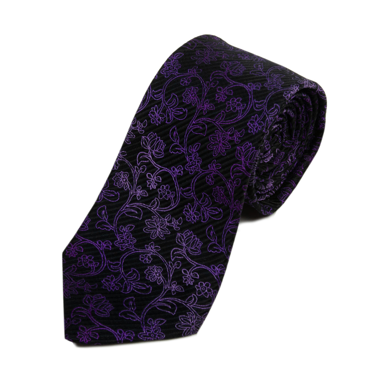 Ted Baker Purple on Black Foral Silk Tie for Luxmrkt.com Menswear Consignment Edmonton
