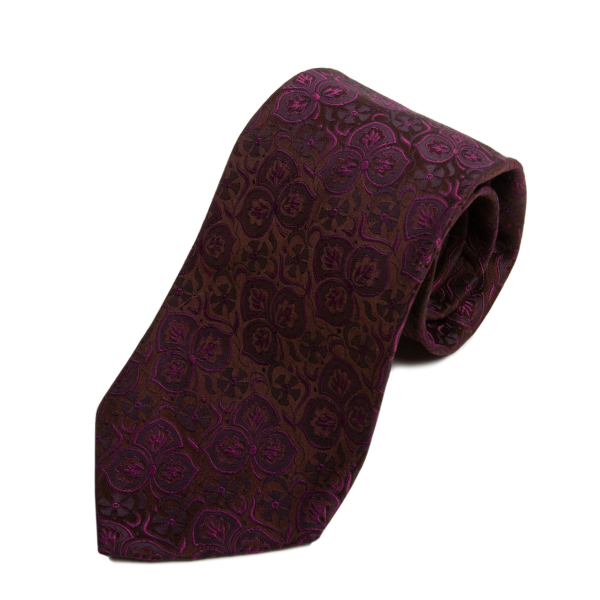 Dolce & Gabbana Merlot on Brown Floral Tie for Luxmrkt.com Menswear Consignment Edmonton
