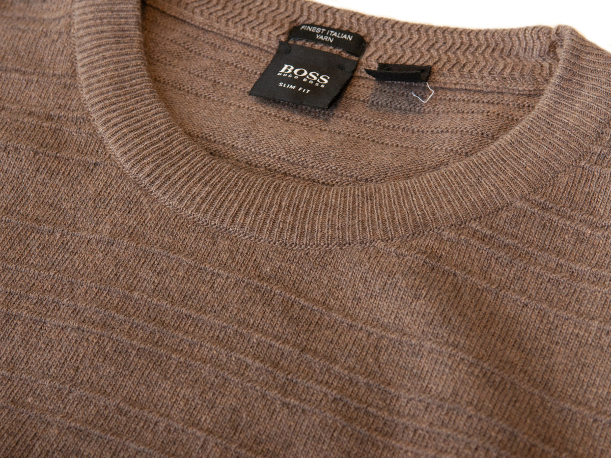 Hugo Boss Brown Ribbed Cashmere Blend Slim Fit Murphy Sweater for Luxmrkt.com Menswear Consignment Edmonton