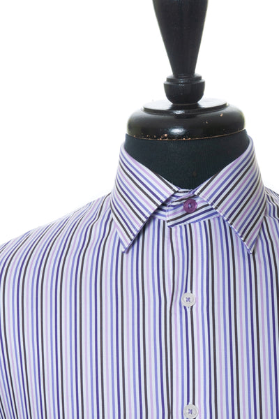 Bugatchi Uomo Shaped Fit Purple Striped Shirt for Luxmrkt.com Menswear Consignment Edmonton