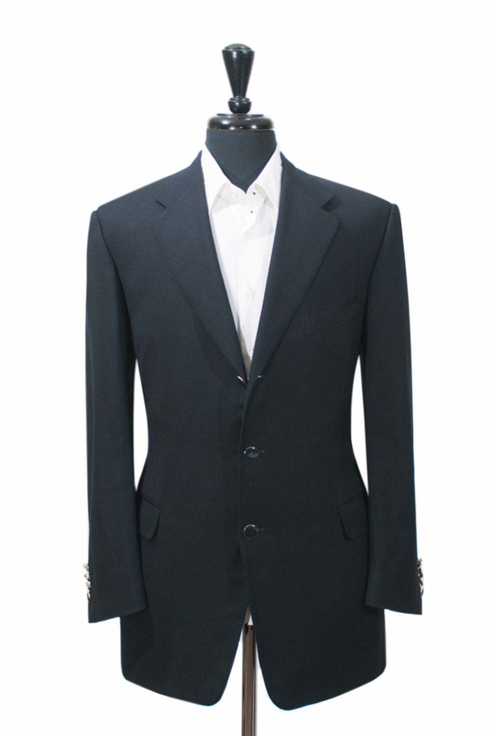 Canali Navy Blue Course Weave Wool Blazer