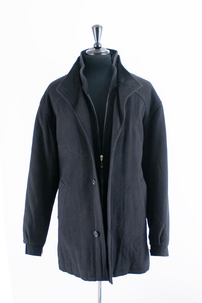Ike Behar Black Wool Blend Coat