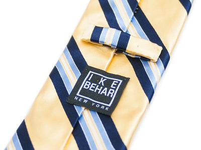 Ike Behar Yellow Stripe Cotton Blend Tie. Luxmrkt.com menswear consignment Edmonton
